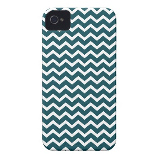 Teal Zig Zag Chevrons Pattern iPhone 4 Cases
