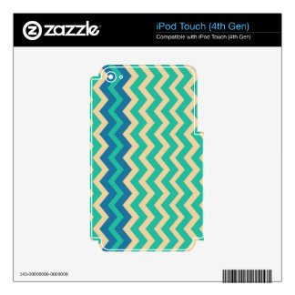 Teal Zigzags With Blue Border Skins For iPod Touch 4G