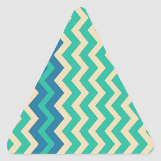 Teal Zigzags With Blue Border Triangle Sticker