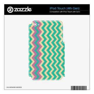 Teal Zigzags With Purple Border iPod Touch 4G Skin