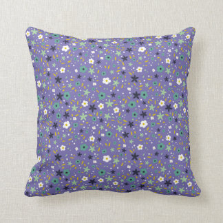 Teals and Purple Ditsy Floral Pattern Pillow