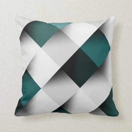 Teals/Grey Geometric Pattern Throw Pillow Zazzle
