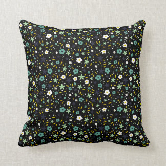 Teals on Black Ditsy Floral Pattern Pillow