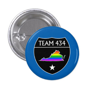 #TEAM434 - PHASE IV - BLACK SHIELD RAINBOW 1 INCH ROUND BUTTON