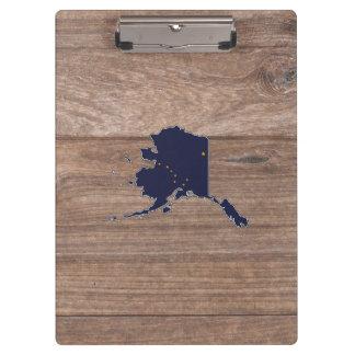 Team Alaska Flag Map on Wood Clipboard