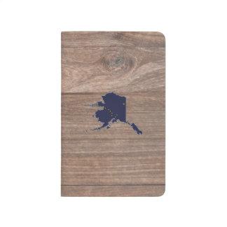 Team Alaska Flag Map on Wood Journals
