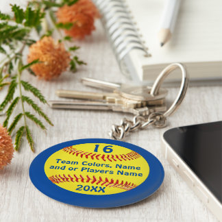 TEAM and PLAYER'S NAME, NUMBER Softball Keychains