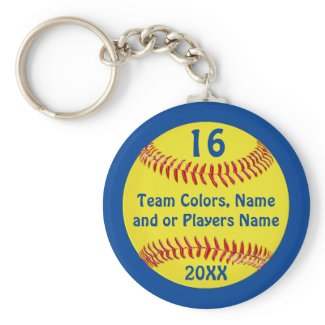TEAM and PLAYER'S NAME, NUMBER Softball Keychains Basic Round Button Keychain