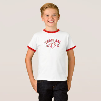 Team Ari boys ringer baseball heart tshirt