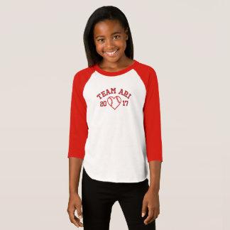 Team Ari girls heart baseball shirt