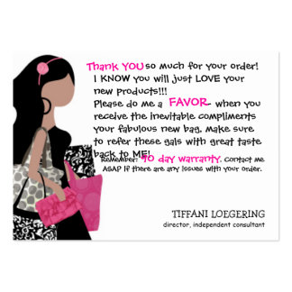 Team BAG Lady customer thank you cards Large Business Card