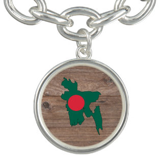 Team bangladesh Flag Map on Wood Charm Bracelet