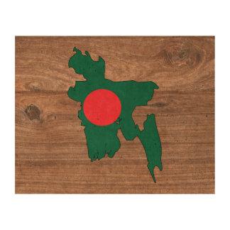 Team bangladesh Flag Map on Wood Queork Photo Print