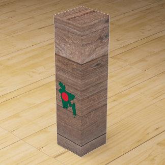 Team bangladesh Flag Map on Wood Wine Gift Box