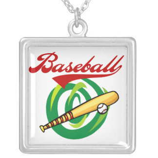 Team Baseball T-shirts and Gifts Square Pendant Necklace