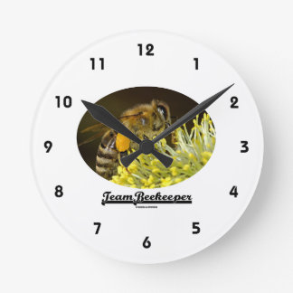 Team Beekeeper (Bee On Yellow Flower) Round Clock