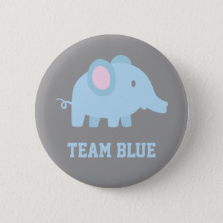 Team Blue, Baby Boy Elephant, Gender Reveal Party Button