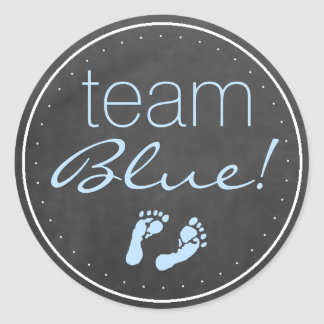 Team Blue Chalkboard Baby Gender Reveal Round Stickers