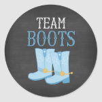 Team Boots Boy Gender Reveal Classic Round Sticker