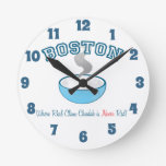 Team Boston Clam Chowder Round Clocks