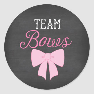 Team Bows Girl Gender Reveal Classic Round Sticker