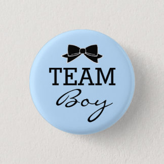 Team Boy Baby Shower Blue and Black Pinback Button