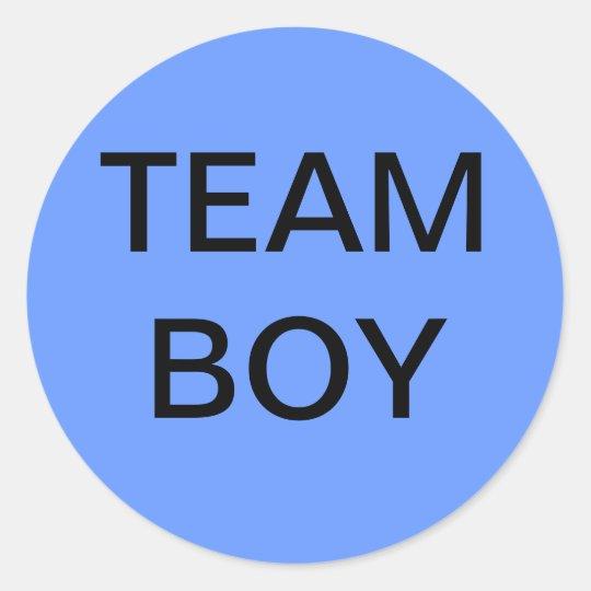 Team Boy Baby Shower Classic Round Sticker