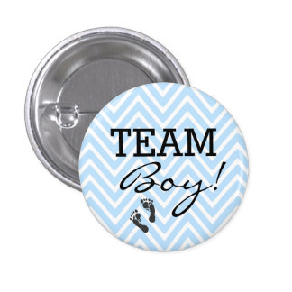Team Boy Blue and White Chevron Baby Shower Pinback Button