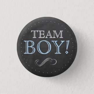 Team Boy Blue Chalkboard Baby Shower Small Pinback Button