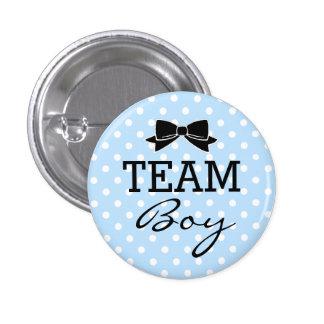 Team Boy Blue Polka Dots Baby Shower Button