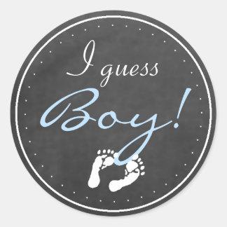 Team Boy Chalkboard Baby Gender Reveal Round Stickers