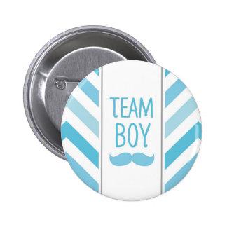 Team Boy Chevron Button - Gender Reveal Party