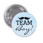 Team Boy Mustache Blue Baby Shower 1 Inch Round Button