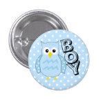 Team Boy-Owl Baby Shower 1 Inch Round Button