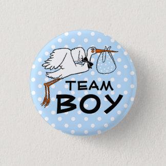 Team Boy Stork Baby Shower Gender Reveal Button
