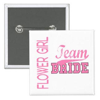 Team Bride 1 FLOWER GIRL Pinback Button