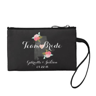 Team Bride Alabama State Wedding Floral Bridesmaid Change Purse