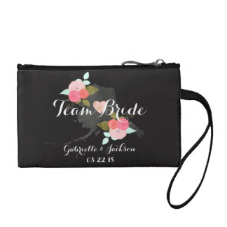 Team Bride Alaska State Wedding Floral Bridesmaid Coin Wallet