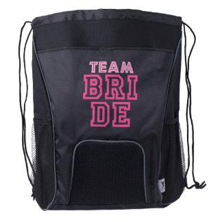 Team bride, bachelorette party drawstring backpack