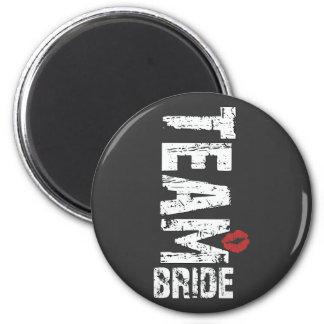 Team Bride Big Grunge Text 2 Inch Round Magnet