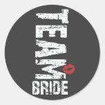 Team Bride Big Grunge Text Classic Round Sticker