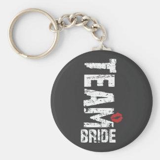 Team Bride Big Grunge Text Keychains
