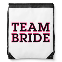 Team Bride Black Outline Drawstring Backpack
