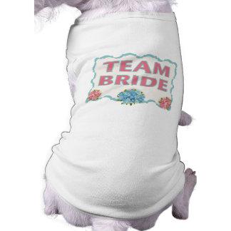 Team Bride (blue floral) Doggie T Shirt