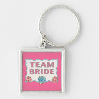 Team Bride (blue floral) Keychains