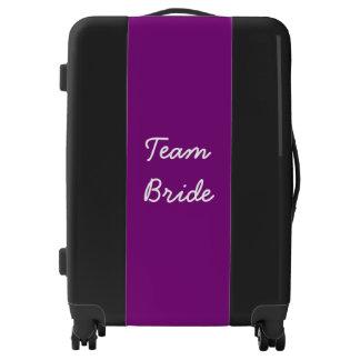 Team Bride Bridal Party Monogrammed Purple Black Luggage