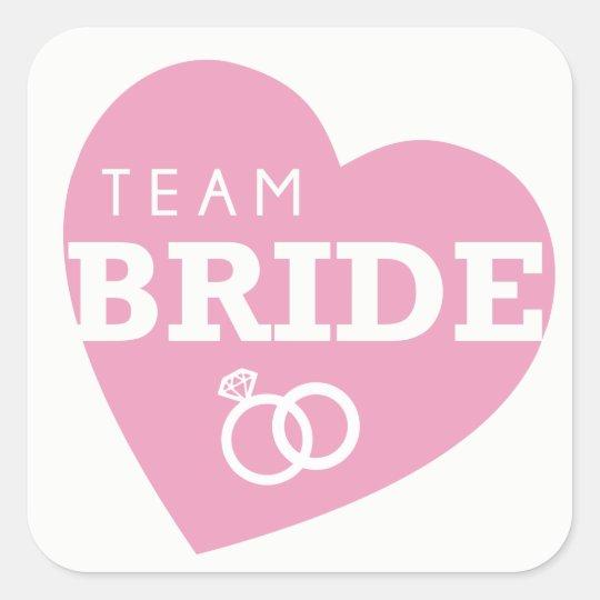 team bride bridal shower stickers pink heart