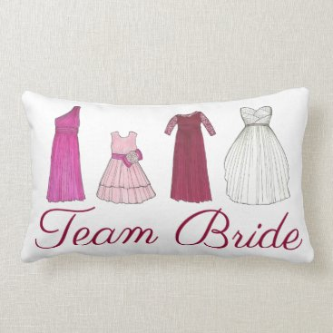 Bride Themed Team Bride Bridesmaid Bridal Party Gowns Wedding Lumbar Pillow