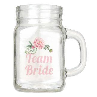 Team Bride Bridesmaid Romantic Pink Floral Mason Jar