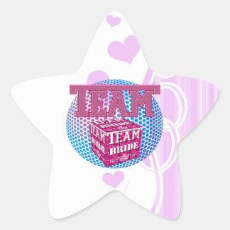 team bride bridesmaids wedding bridal party pink star sticker